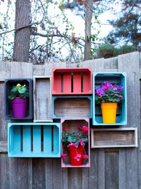 DIY colorful crates on fence, DIY Fence ideas, DIY Fence Projects
