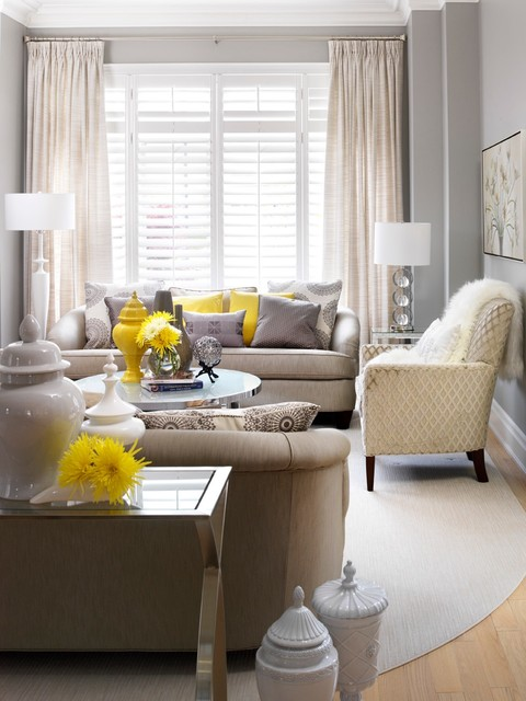 Living room with yellow accent
