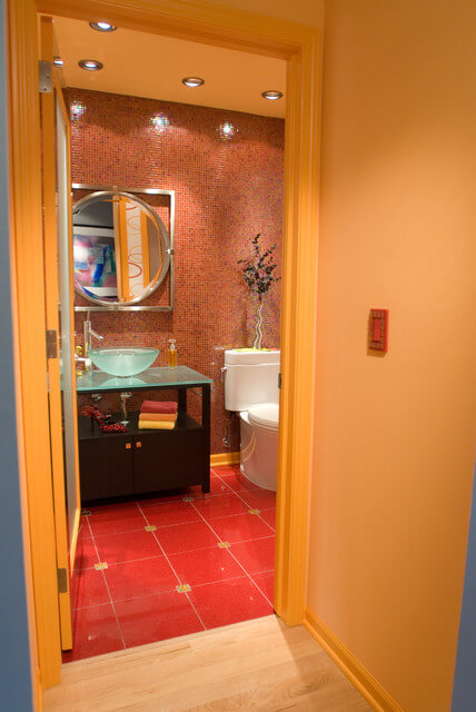 bathroom red tiles