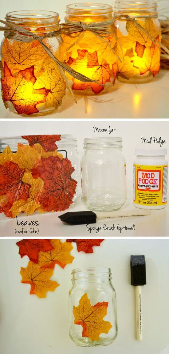 DIY Autumn Leaf, Mason Jar Candle Holder