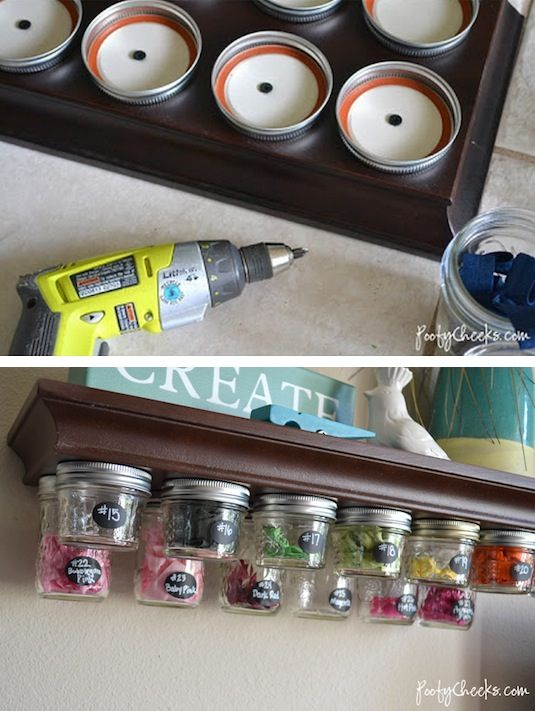 DIY Mason Jar Under-Shelf Storage