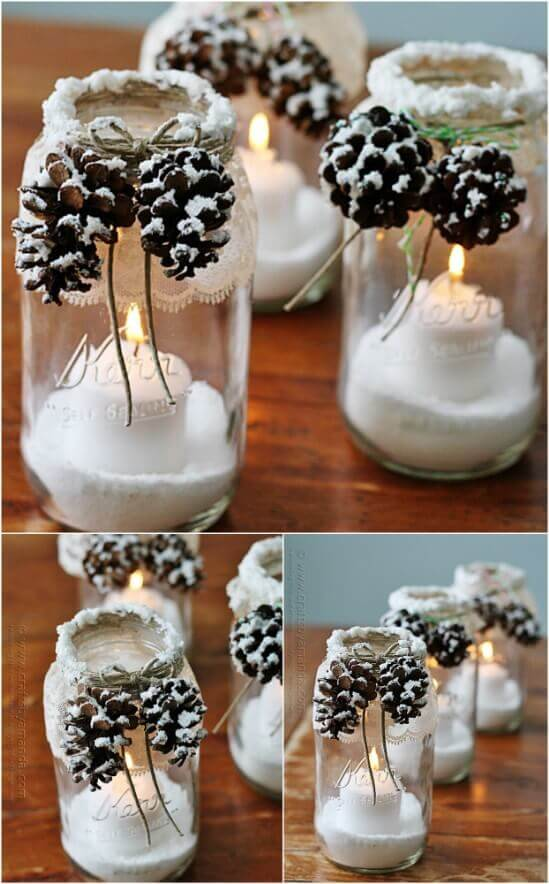 DIY Snowcapped Pinecones