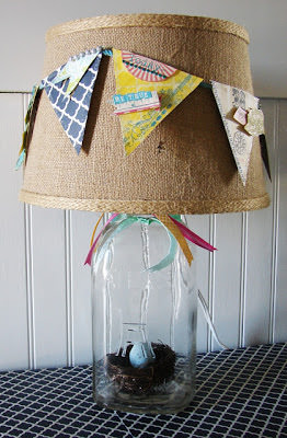DIY Spring Banner Lamp Shade Using