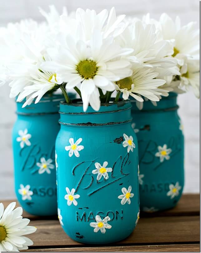 DIY painted daisy mason jars