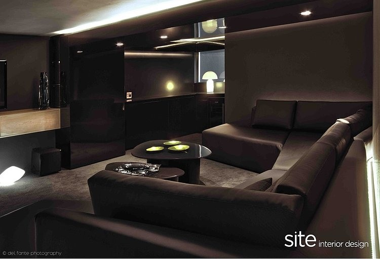 Black Living Room Interior, Aupiais house by site interior design
