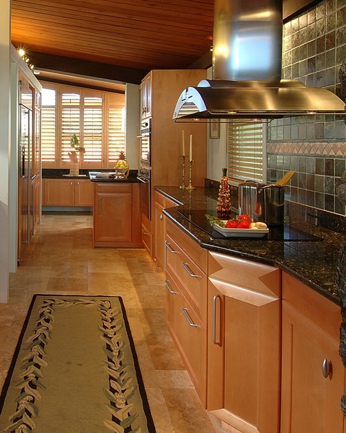 Contemporary galley kitchen in Hawaii by Archipelago Hawaii Luxury Home Designs