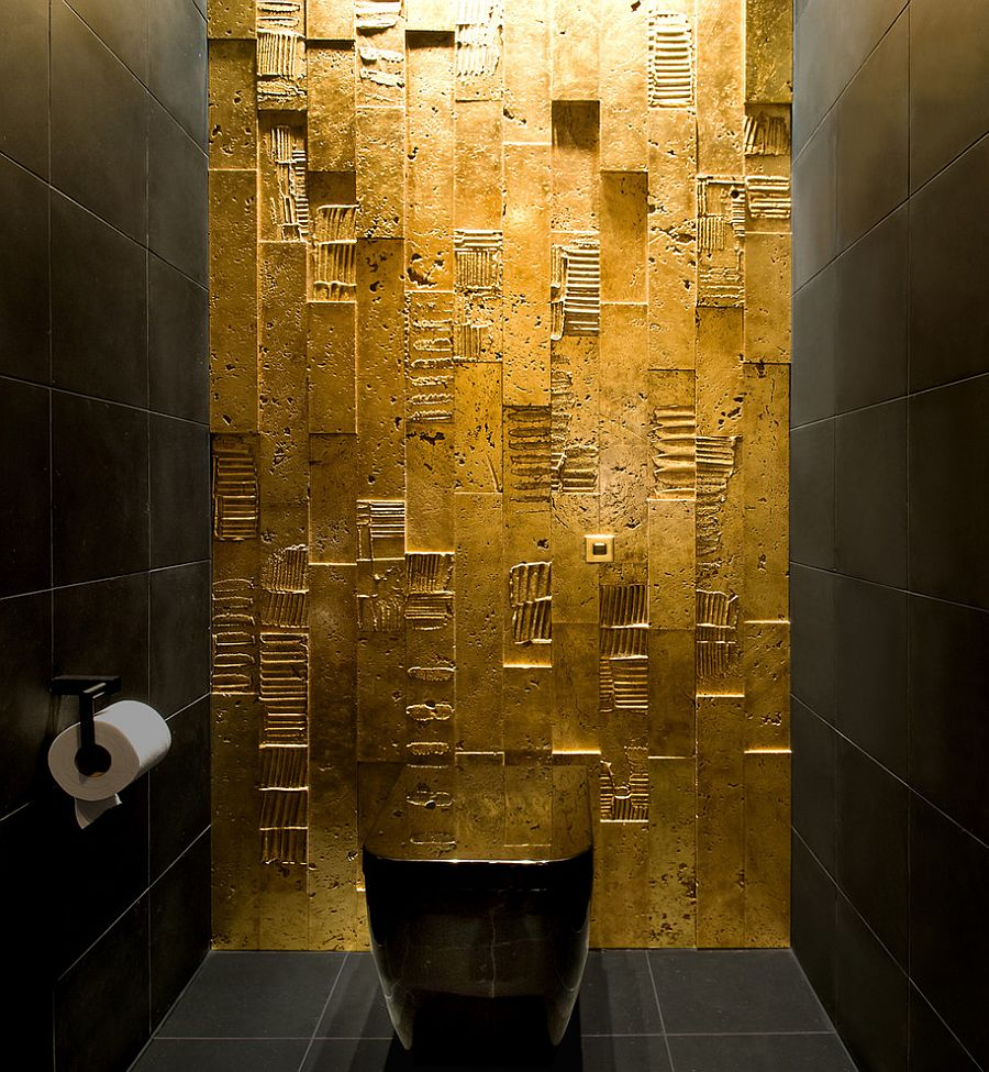 Dark and gold bathroom