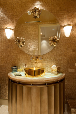 Gold Color Bathroom Design, Palm beach-condo