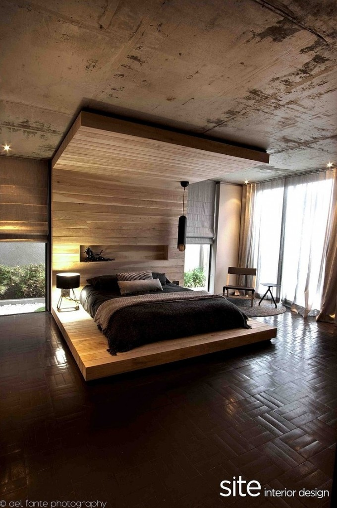 Luxurious Bedroom Interior Design, Wooden, Aupiais house by site interior design
