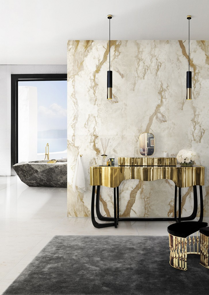 Luxury dream gold color bathroom interior