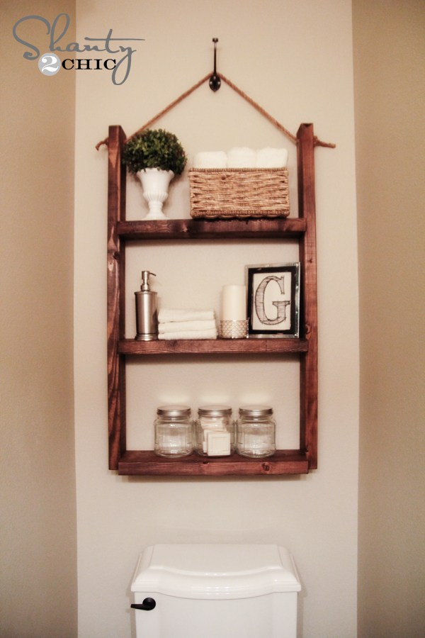 DIY Hanging Bathroom Shelf