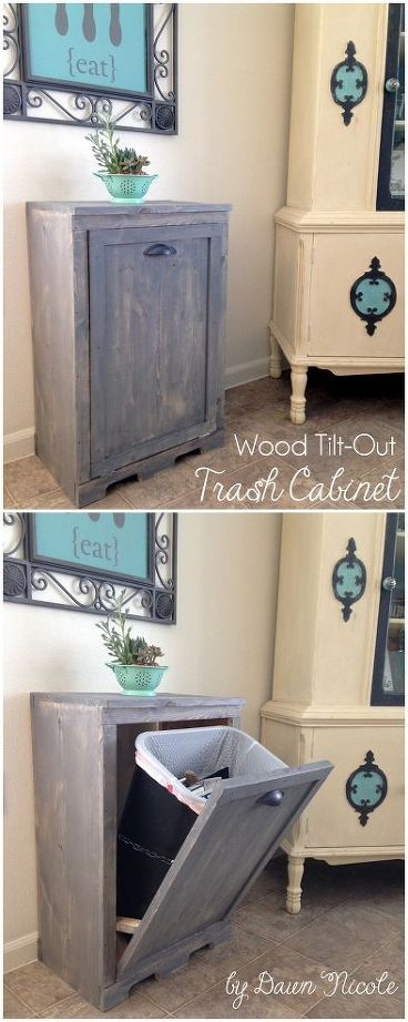 DIY Wood Tilt-Out Trash Cabinet