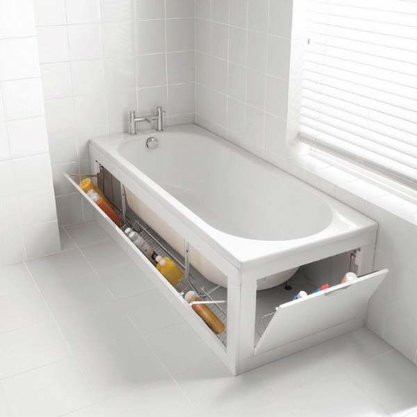 Hidden storage space around the bathtub