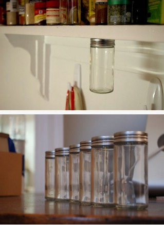 Magnetic, under-shelf spice rack