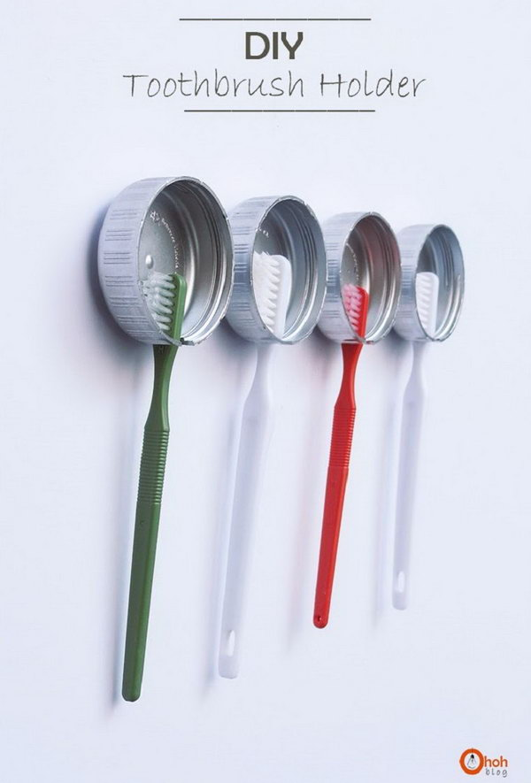 Recycled bottle caps to store your toothbrushes