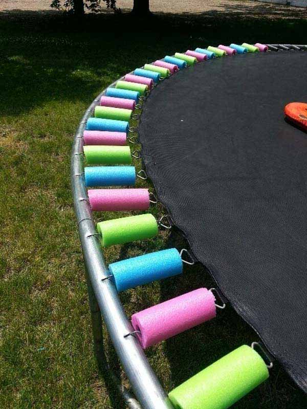 DIY Trampoline Safety Pads with pool noodle