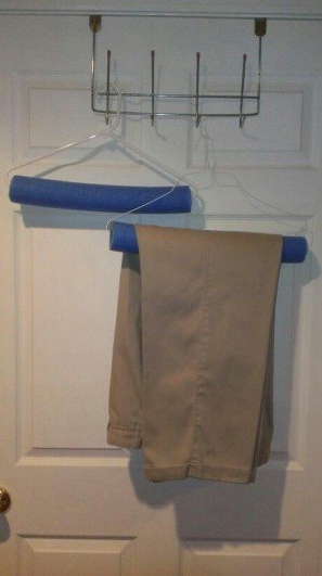 You can use pool noodle on a clothes hanger to avoid hanger creases