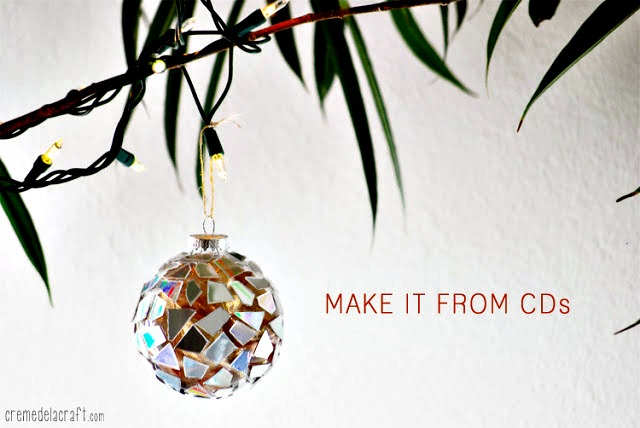 DIY Mosaic Ornaments from CDs