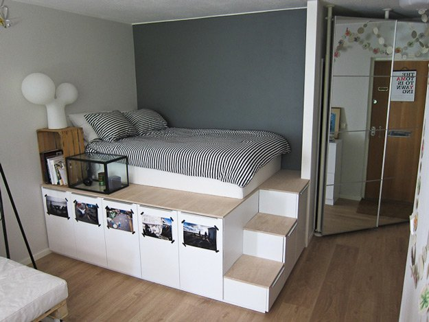 DIY Platform Bed with Storage space