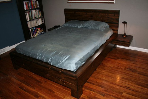 Do-it-yourself Platform Bed and Floating Nightstands, DIY