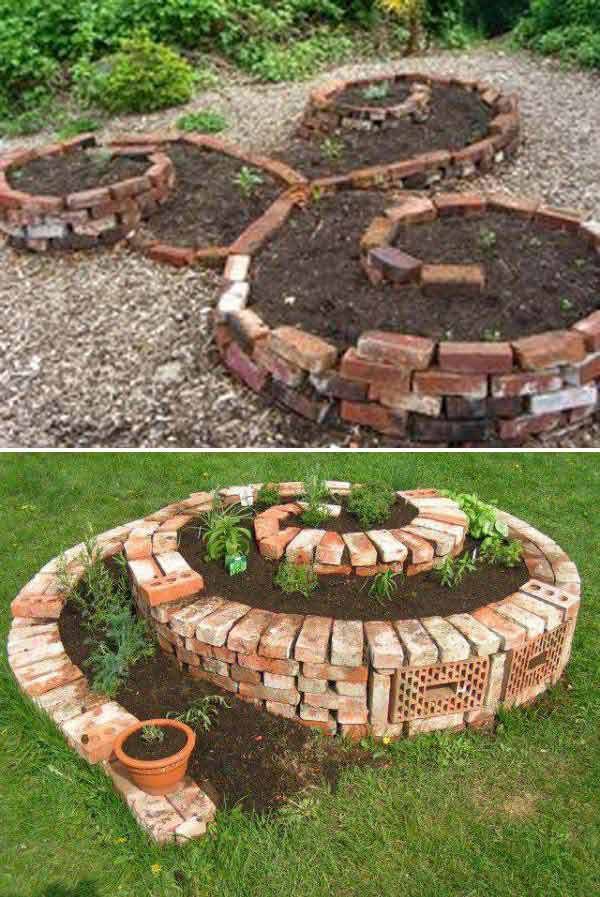 DIY Yard Brick Projects, Brick Spiral Garden