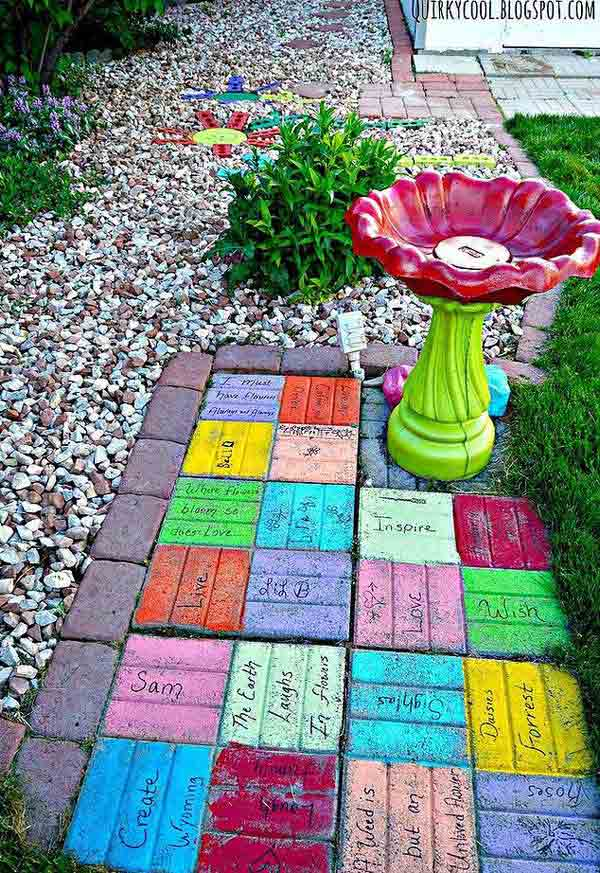 DIY Colorful Brick Yard Art