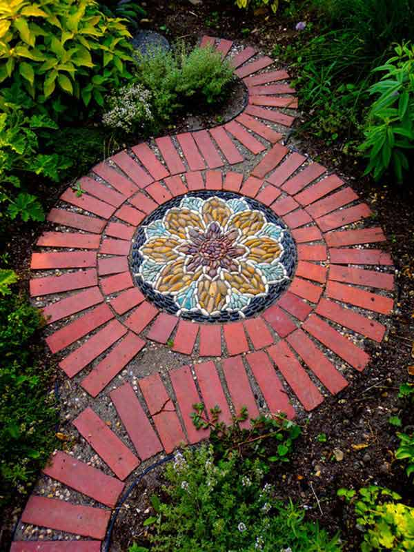 DIY Yard Brick Projects, Herb Garden Mosaic