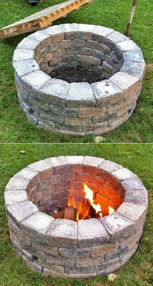 Simple DIY Fire Pit, DIY Yard Brick Projects